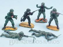 1. Brinquedos antigos - Casablanca e Gulliver - Conjunto completo de 6 Soldados com Uniforme Brasileiro da Segunda Guerra Mundial Década de 1970