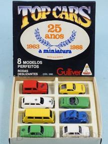 1. Brinquedos antigos - Casablanca e Gulliver - Conjunto Completo Top Cars Collection Scale Models com 8 carros diferentes Adesivo comemorativo 25 anos A miniatura Ano 1988