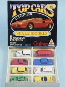 1. Brinquedos antigos - Casablanca e Gulliver - Conjunto Completo Top Cars Collection Scale Models com 8 carros diferentes Embalagem lacrada Década de 1980