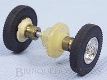 Brinquedos Antigos - Estrela - Conjunto completo traseiro de eixo rodas pneus buchas e coroa para carros Berlineta Jaguar e Corvette 1:32 com chassi de plástico Década de 1960