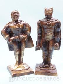 1. Brinquedos antigos - Sem identificação - Conjunto de figuras do Batman e Robin com 7,00 cm de altura Cópia em Resina de figuras da Década de 1970 Ano 1998