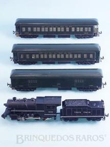 Brinquedos Antigos - Bassett Lowke - Conjunto de Locomotiva a vapor 040 um vagão de bagagens e dois carros Pullman de passageiros Sistema Trix Twin Corrente Contínua Ano 1948