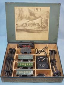 1. Brinquedos antigos - Karl Bub KBN - Conjunto de Locomotiva a vapor 3 Carros de Passageiros e Transformador Made in US Zone Década de 1950
