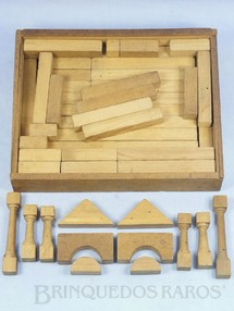 Brinquedos Antigos - Sem identifica��o - Conjunto de Montar Caixa com 27,0 x 21,0 cm 51 pe�as D�cada de 1950