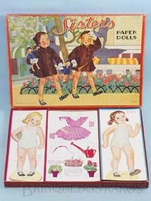 1. Brinquedos antigos - SAML. Gabriel Sons & Co. - Conjunto Sisters Papper Dolls com 2 Bonecas e 12 conjunto de Roupas para recortar Década de 1950