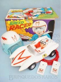 1. Brinquedos antigos - Rosita - Conjunto Speed Racer completo com carro Match 5 de 42,00 cm de comprimento Capacete Rádio e Jogo com 3 carrinhos Primeira miniatura Match 5 do mundo Década de 1970