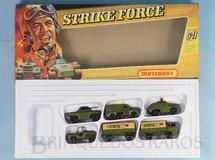 Brinquedos Antigos - Matchbox - Conjunto Strike Force Gift Set Superfast contendo 6 itens militares Jeep Stoat Mercedes Truck and Trailer Badger e Weasel Completo Perfeito estado Década de 1960