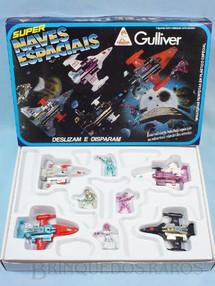 1. Brinquedos antigos - Casablanca e Gulliver - Conjunto Super Naves Espaciais com quatro naves e quatro figuras Década de 1980