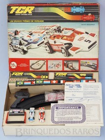 1. Brinquedos antigos - Trol - Conjunto TCR Circuito Indianápolis completo com dois carros Fórmula Indy Década de 1980