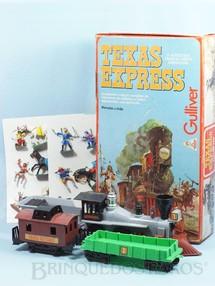 1. Brinquedos antigos - Casablanca e Gulliver - Conjunto Texas Express com Locomotiva a Vapor e 2 Vagões de carga completo com 18 figuras Cópia Atlantic pintadas Caixa Original Perfeito estado Ano 1986
