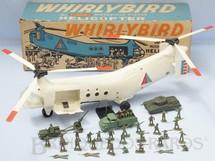1. Brinquedos antigos - Ideal - Conjunto Whirlybird com Helicóptero de Transporte de Tropas de 65,00 cm de comprimento Movimenta as hélices anda para a frente e tem guincho operacinal Acompanha Jeep com Canhão Tanque de Guerra Caminhão e 35 soldados Década 1960