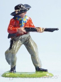 1. Brinquedos antigos - Casablanca e Gulliver - Cowboy de pé atirando com rifle Casablanca numerado 123 Década de 1960