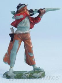 Brinquedos Antigos - Casablanca e Gulliver - Cowboy de pé atirando com rifle de plástico azul pintado Década de 1960
