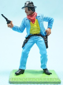 1. Brinquedos antigos - Britains - Cowboy de pé com dois revolveres Série Deetail Década de 1970