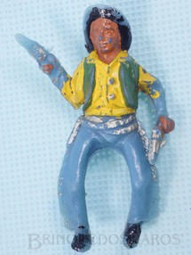 1. Brinquedos antigos - Casablanca e Gulliver - Cowboy montado a cavalo com dois revolveres Plástico azul claro pintado Década de 1960