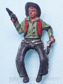 Brinquedos Antigos - Casablanca e Gulliver - Cowboy montado a cavalo com dois revolveres Plástico preto pintado Década de 1960 RESERVED***MM***