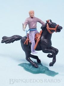 1. Brinquedos antigos - Sem identificação - Cowboy montado a cavalo com punhal cópia Timpo Toys Década de 1970