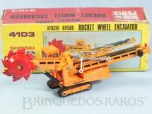 Brinquedos Antigos - Shinsei - Escavadeira Rotatória Hitachi BH500 Bucket Wheel Excavator com 17,00 cm de comprimento Série Mini Power Década de 1980