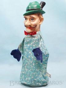 1. Brinquedos antigos - Estrela - Fantoche Caçador da História Chapeuzinho Vermelho 22,00 cm de altura Cabeça de vinil Etiqueta Walt Disney Patent Ano 1956