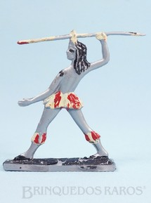 1. Brinquedos antigos - Brinqboy - Figura de Índio Brasileiro atirando Lança 9,00 cm de altura Década de 1960