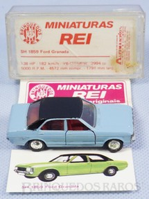 1. Brinquedos antigos - Schuco-Rei - Ford Granada azul claro Schuco Modell Brasilianische Schuco Rei completo com Catálogo e Cromo