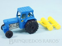1. Brinquedos antigos - Matchbox - Ford Tractor and Harrow Superfast azul