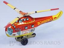 1. Brinquedos antigos - Metalma - Helicóptero Sikorsky H-19 com 19,00 cm de comprimento Versão Policia Militar Corpo de Bombeiros Década de 1970
