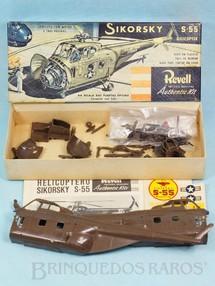 1. Brinquedos antigos - Revell - Helicóptero Sikorsky S-55 Caixa Dura e Manual em excelente estado fabricação pré 1964 Kit montado