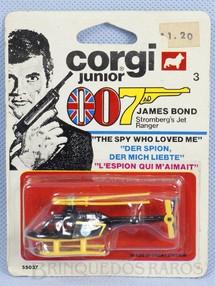 1. Brinquedos antigos - Corgi Toys-Corgi Jr. - Helicóptero Strombergs Jet Ranger 007 James Bond Corgi Jr Blister lacrado