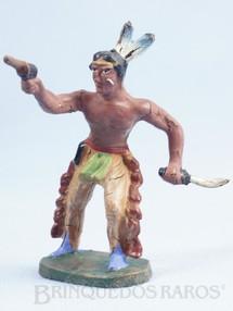 1. Brinquedos antigos - Elastolin - Índio com revolver e faca Década de 1950