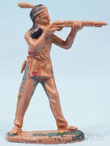 Brinquedos Antigos - Casablanca e Gulliver - �ndio de p� atirando com rifle Gulliver numerado 19 D�cada de 1970