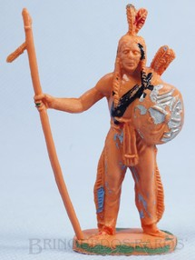 1. Brinquedos antigos - Casablanca e Gulliver - Índio de pé com lança e escudo Gulliver Década de 1970