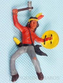 Brinquedos Antigos - Casablanca e Gulliver - �ndio montado a cavalo com machado e escudo Ano 1986