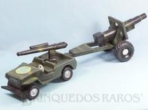 1. Brinquedos antigos - Sideral - Jeep Willys com Canhão e Carreta 60,00 cm de comprimento Década de 1970