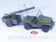 Brinquedos Antigos - Estrela - Jipe do Falcon Jeep Willys verde com Carreta Canhão e Balas Série 1978 Acompanha Réplica dos Adesivos