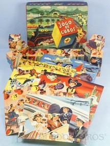 1. Brinquedos antigos - Estrela - Jogo de Cubos com 20 cubos de madeira revestidos de papel e 6 Folhetos com Cenas infantis Praia Cowboy Circo Aniversário Viagem e Trem Ano 1957
