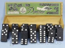 1. Brinquedos antigos - Haltrich S/A-Papagaio - Jogo de Dominó com 28 pedras negras Década de 1950