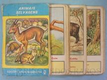 1. Brinquedos antigos - Melhoramentos - Jogo Quarteto Animais Selvagens completo com 12 grupos de 4 cartas Década de 1960