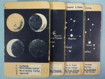 1. Brinquedos antigos - Otto Maier Verlag - Jogo Quarteto Astronomisches Quartettspiel Fases da Lua Planetas e Constelações completo com 15 grupos de 4 cartas Ano 1920