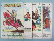 1. Brinquedos antigos - P.V. - Jogo Quarteto Ivanhoé Ein Fernsehquartett completo com 4 grupos de 6 cartas Década de 1960