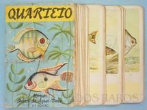 1. Brinquedos antigos - Melhoramentos - Jogo Quarteto Nossos Peixes de Água Doce completo com 12 grupos de 4 cartas Década de 1960