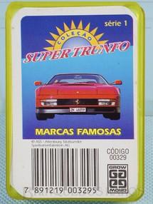 1. Brinquedos antigos - Grow - Jogo Super Trunfo Marca Famosas Década de 1990