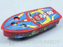 Brinquedos Antigos - Sem identificação - Lancha de corrida com Roleta 10,00 cm de comprimento Década de 1970