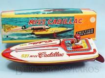 1. Brinquedos antigos - Bandai - Lancha de corrida Miss Cadillac com 24,00 cm de comprimento Década de 1960