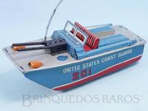 Brinquedos Antigos - Daiya - Lancha United States Coast Guard com 19,00 cm de comprimento e Metralhadora com faisca Década de 1960