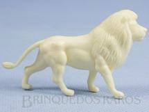 1. Brinquedos antigos - Casablanca e Gulliver - Leão de plástico branco Série Zoológico Década de 1970