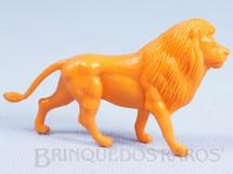 1. Brinquedos antigos - Casablanca e Gulliver - Leão de plástico laranja Série Zoológico Década de 1970