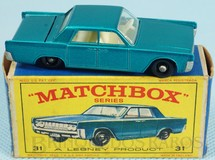 Brinquedos Antigos - Matchbox - Lincoln Continental azul metálico black plastic Regular Wheels