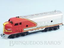 1. Brinquedos antigos - Atma - Conjunto Santa Fé Locomotiva Diesel F3 Santa Fé Década de 1980