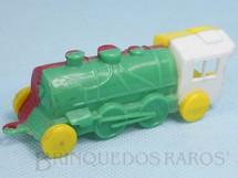 Brinquedos Antigos - Sem identificação - Locomotiva em quatro cores com 10,00 cm de comprimento Década de 1950